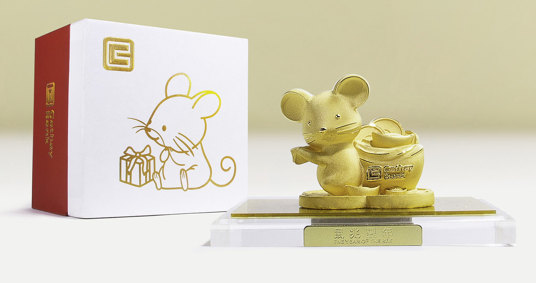 Lucky Rat gold-plated figurine