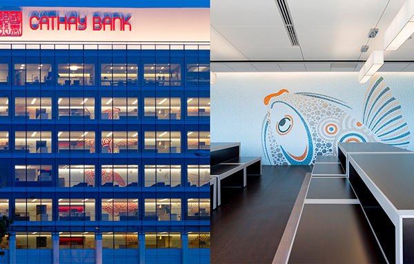 Cathay Bank's El Monte Corporate Building with multicolored fish murals. Murals across floors combined into a larger scale artwork.