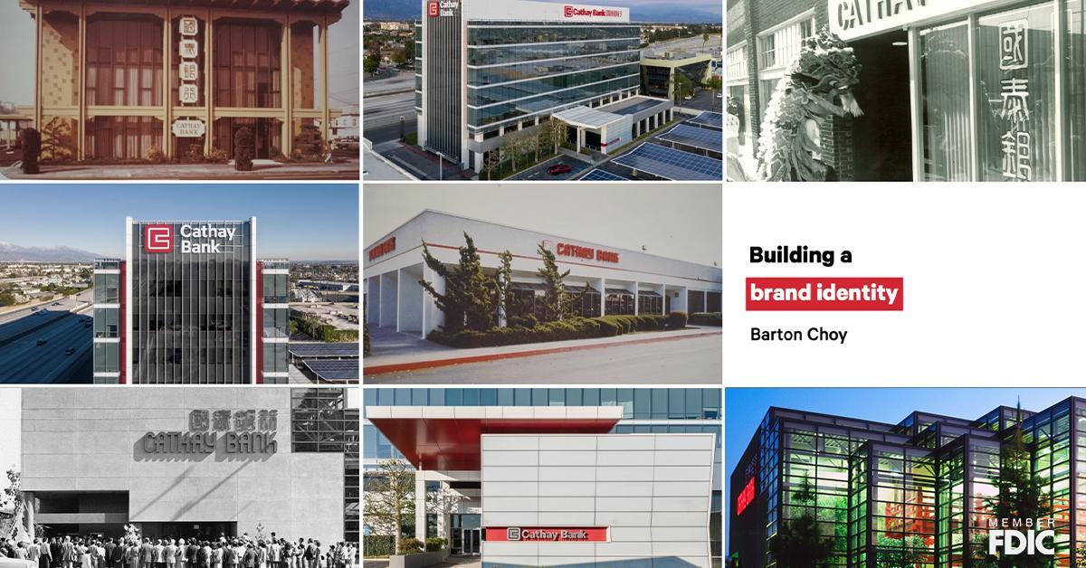 Photo collage of Cathay Bank corporate building and branches